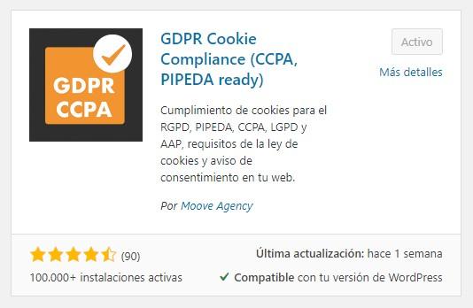 plugin GDPR Cookie Compliance